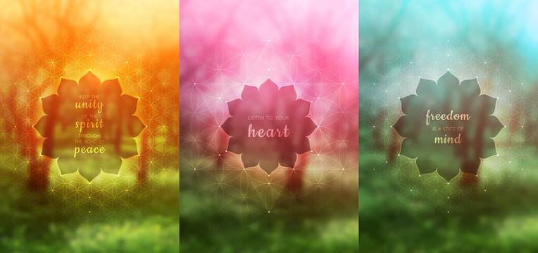 "Set of three vector template for card or poster with inspirational phrase, vertical format; Spiritual sacred geometry; ""Flower of life"" and lotus on blurred background; Yoga, meditation and relax."