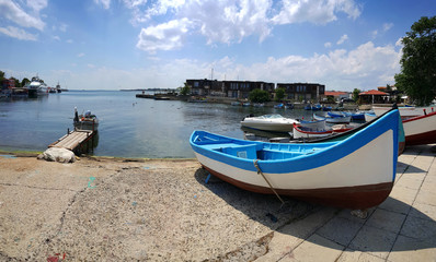 Fishing boat on the port in old town of Nessebar