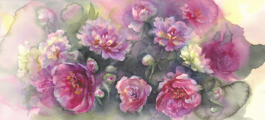 pink peonies in green background watercolor