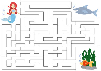 Maze educational game for kids. Help the mermaid find right way to the fish.  Beware of shark. Vector illustration
