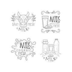 Vector set of creative milk labels with lettering. Fresh and organic product. Original emblems in sketch style