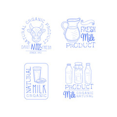 Vector set of 4 hand drawn emblems for fresh dairy products. Logo templates with cow head and jug, glass with cookies and bottles