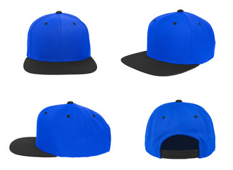 Blank baseball snap back cap two tone color black/blue on white background
