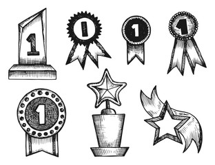 medals and awards statuettes vector sketch icons isolated silhouette