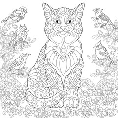 Cat and Birds in the garden. Coloring page. Colouring picture. Coloring book. Freehand sketch drawing. Vector illustration.