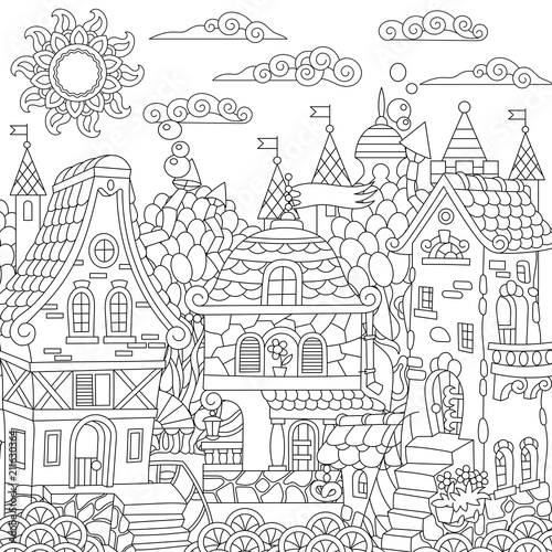 Fairy Tale Town Fairytale City Fantasy Downtown With Vintage Houses Coloring Page