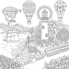 Lighthouse Sailing Ship Dirigible Hot Air Balloons Coloring Page Colouring Picture