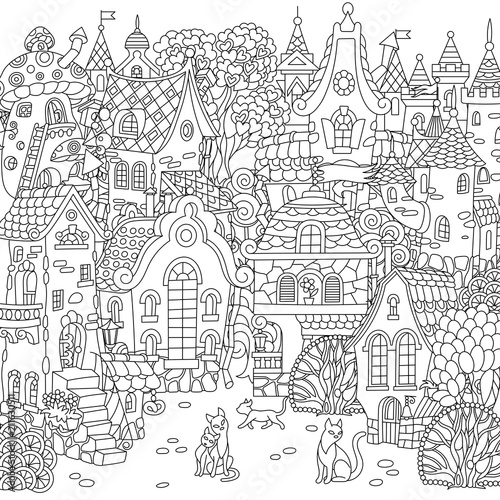 Fantasy Cityscape With Vintage Houses And Cats Coloring