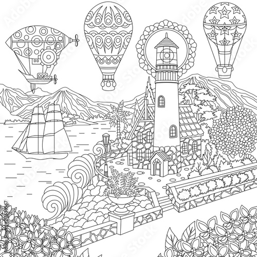 Lighthouse Sailing Ship Dirigible Hot Air Balloons Coloring Page