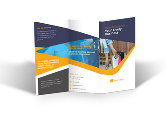 Business Brochure Layout with Yellow and Blue Accents