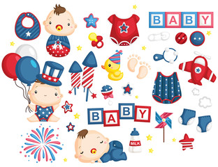 4th of July Baby Vector Set