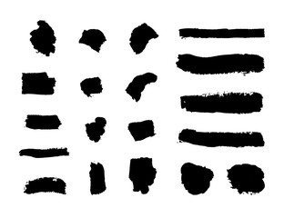 Vector Set of Flat Ink Strokes, Black Grunge Elements Isolated Brush Smears.