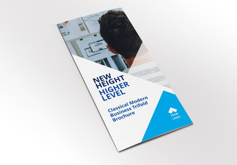 Business Brochure Layout with Blue Geometric Elements