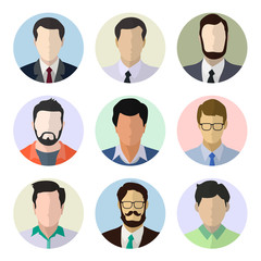 Male avatar human faces vector illustration.