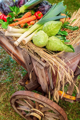 Wooden old chariot with fresh organic vegetables