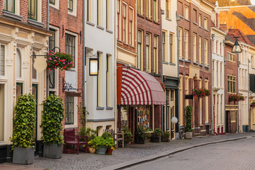 Ancient shopping street in the historical center of the Dutch city of Zutphen