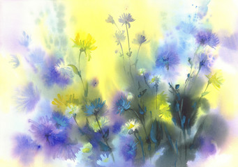 sunny meadow watercolor background