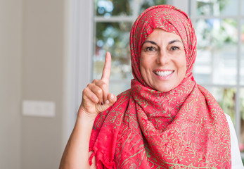 Middle aged muslim woman wearing hijab surprised with an idea or question pointing finger with happy face, number one