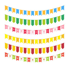 Vector flag garlands for invitation card design, carnival bright cordage and child adornments isolated on white background. Different colorful bunting.