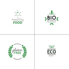 Natural and organic vector set with green labels and badges. Design elements for product packaging, logos, stickers or icons. Vegan food collection.