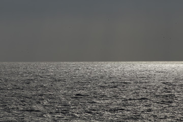 Glistening sea in an overcast evening