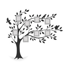 Family tree with photo frames. Memories. Insert your photo into template frames. Collage vector illustration.