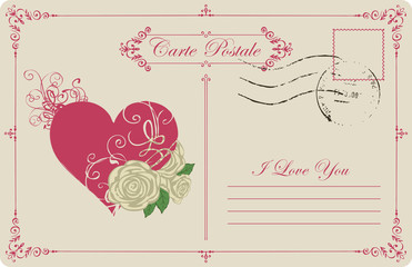 Retro postcard on the theme of declaration of love with red heart and white roses. Romantic vector card in vintage style with calligraphic inscription I love you and place for text