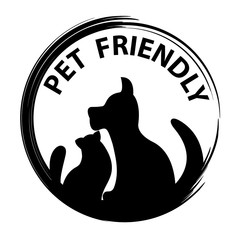 Pet friendly concept.Black silhouettes of dog and cat flat design vector illustration.