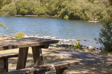 A picnic bench in Snowdonia, Lake Padan.