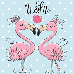 Two Cute Flamingos on a blue background