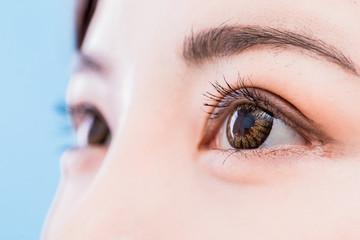 close up of woman eyes