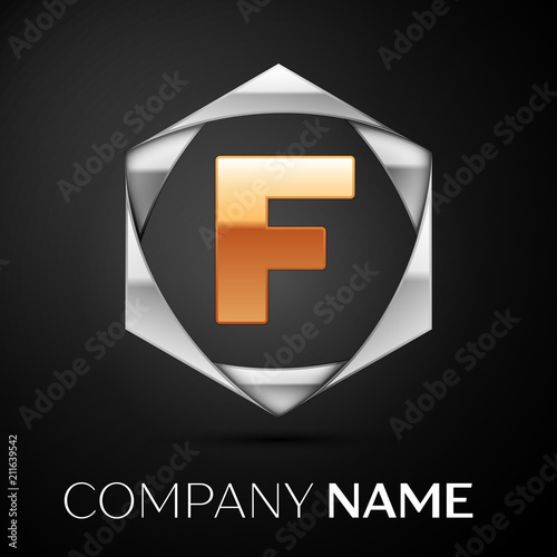 0d6f9e7831e03a Gold Letter F logo symbol in the colorful silver hexagonal on black  background. Vector template