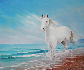 Painting a horse running on the waves. White horse on the beach.