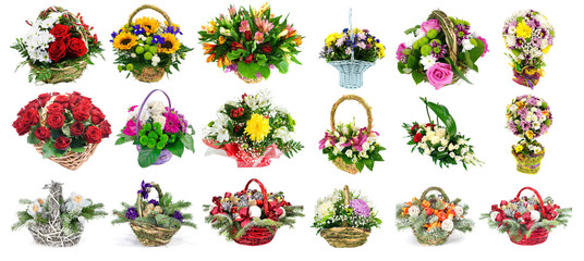 set of baskets with fresh flowers