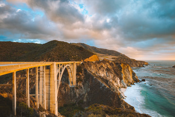 Bixby Bridge with Highway 1 at sunset, Big Sur, California, USA