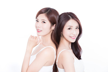two beauty skincare woman