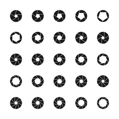 Set of camera lens aperture icons with different position of a diaphragm petals. Photo and video related set of shutter symbols