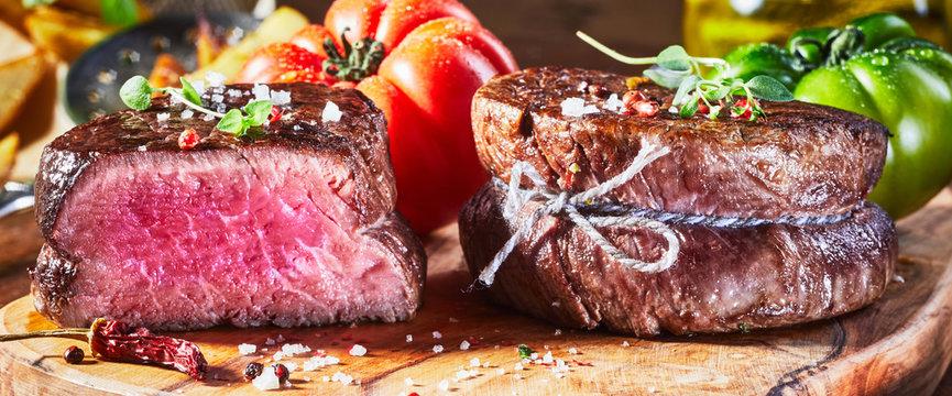 Juicy medium rare fillet steak mignon