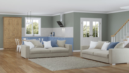 Modern house interior. Design project. 3D rendering.