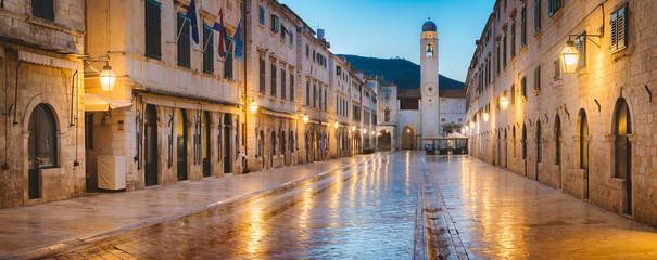Printed roller blinds Mediterranean Europe Dubrovnik twilight panorama, Dalmatia, Croatia
