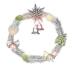 White New Year background with Christmas wreath and bells.