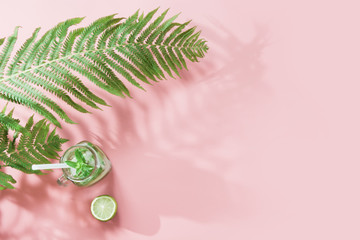Tropical detox water and leaf of fern with shadow on pastel pink background. Top view with copy space. Summer.