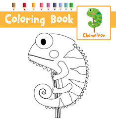 Coloring page of Green Chameleon animals for preschool kids activity educational worksheet. Vector Illustration.