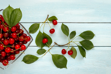 Ripe juicy cherries on a glass plate.
