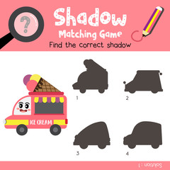 Shadow matching game of Food Truck cartoon character side view transportations for preschool kids activity worksheet colorful version. Vector Illustration.