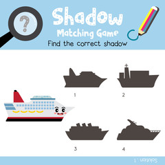Shadow matching game of Cruise Ship cartoon character side view transportations for preschool kids activity worksheet colorful version. Vector Illustration.