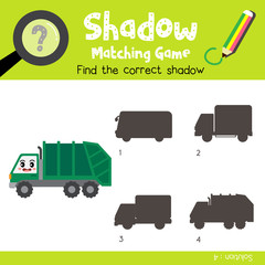Shadow matching game of Garbage Truck cartoon character side view transportations for preschool kids activity worksheet colorful version. Vector Illustration.