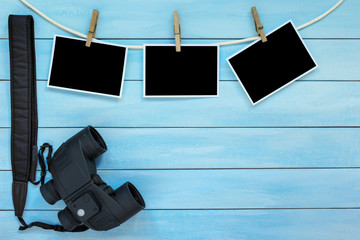 Blank instant photo frames with binoculars.