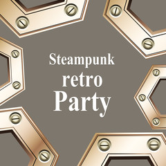 Steampunk retro party invitation card. Vector