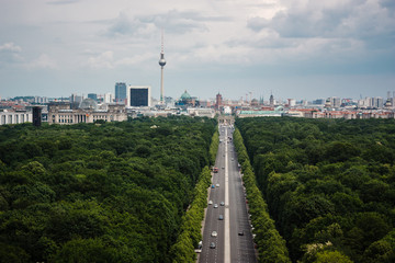 Foto op Canvas Berlijn Berlin city skyline aerial view from the top of Victory Column (Siegessaule) in Tiergarten, Berlin